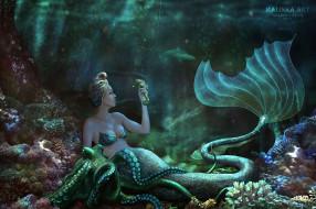 фэнтези, русалки, королева, моря, русалка, хвост