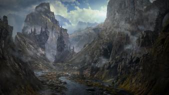 дворец, облака, скалы
