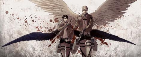 обои для рабочего стола 3221x1300 аниме, shingeki no kyojin, атака, титанов