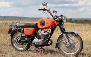 мотоциклы, русские мотоциклы, мотоцикл, поле, трава, иж, -, планета, спорт, небо