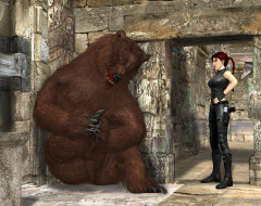 девушка, фон, медведь, взгляд