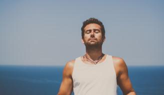 ожерелье, горизонт, спокойствие, море, мужчина, небо