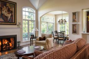 гостиная, дизайн, диван, камин, окна