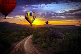 воздушные, шары, дорога, закат