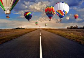 шоссе, шары, воздушные, полет, небо, дорога