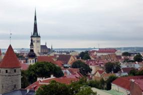 города, таллин , эстония, панорама, крыши