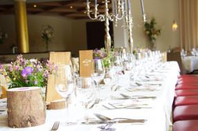 посуда, цветы, банкет, стол