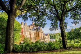 города, - дворцы,  замки,  крепости, ветки, солнце, шотландия, зелень, замок, кусты, glenapp, castle, деревья, сад, цветы