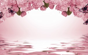 разное, компьютерный дизайн, сакура, цветы, искры, бабочки, фон