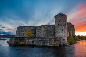 финляндия, города, - дворцы,  замки,  крепости, закат, деревья, водоем