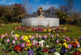 разное, садовые и парковые скульптуры, деревья, трава, цветы