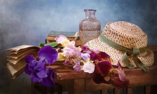 разное, одежда,  обувь,  текстиль,  экипировка, ирисы, столик, ваза, цветы, книги, шляпа