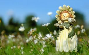 разное, игрушки, цветы, ромашки, кукла, фигурка, поле, лето, трава