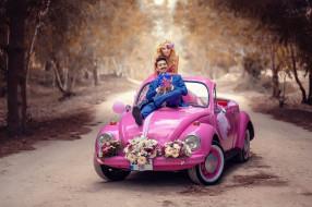 разное, мужчина женщина, аллея, автомобиль, жених, невеста, цветы, свадьба, деревья, пара, гламур