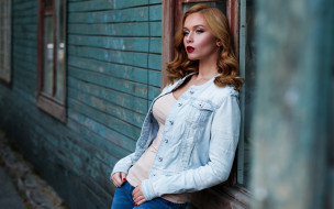 девушки, -unsort , брюнетки,  шатенки, макияж, джинсы, куртка, девушка, барак, шатенка, модель