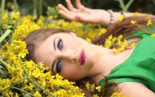 девушки, -unsort , лица,  портреты, макияж, цветы, взгляд, девушка, шатенка, лицо
