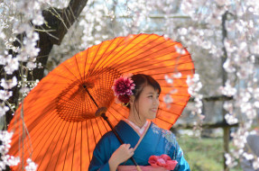девушки, -unsort , азиатки, зонт, девушка