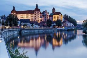 германия, города, - дворцы,  замки,  крепости, фонари, водоем, здания, мост
