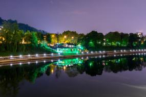 турин, города, турин , италия, водоем, здание, фонари, ночь, деревья