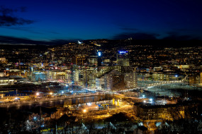 осло, города, осло , норвегия, фонари, панорама, здания, ночь