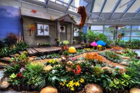 разное, садовые и парковые скульптуры, окно, игрушки, цветы