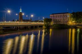 города, - огни ночного города, ночь, деревья, огни, здание, водоем, мост