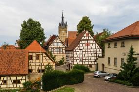 германия, города, - здания,  дома, машины, деревья, кустарники, цветы