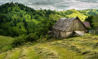 румыния, города, - пейзажи, сено, трава, постройка, холмы, деревья