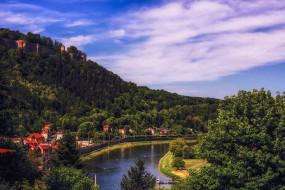 германия, города, - пейзажи, водоем, дома, холм, деревья