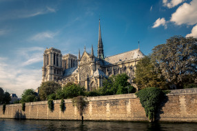 notre dame,  paris, города, париж , франция, река, собор