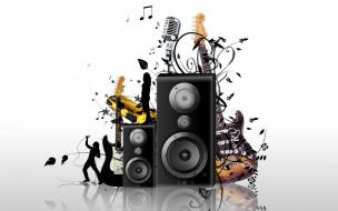 девушка, цветы, ноты, музыка, певец, гитары, микрофон, колонки