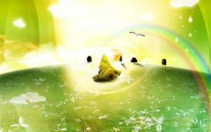 птица, поляна, лист, радуга, деревья