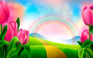 рисунок, тюльпаны, радуга