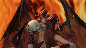 взгляд, фон, демон, девушка