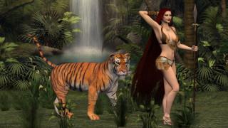 фон, тигр, девушка, взгляд