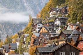 hallstatt, города, - панорамы, городок, озеро, горы