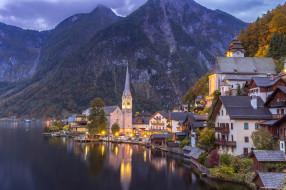 hallstatt, города, - пейзажи, городок, озеро, горы