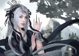 девушка, белые волосы, татуировка, азия, горы, арт, рука, украшения, нож