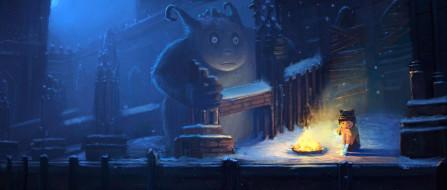 зима, девочка, снег, ребенок, арт, монстр, замок, руины, ночь, заброшенность, холод, одиночество, костер