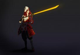 меч, девушка, фон, взгляд
