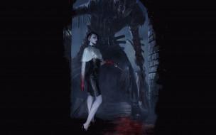 нож, девушка, демон, кровь, арка