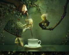 чашка, листья, плющ, человечки, ветки, графика, чайник, рука, чаепитие
