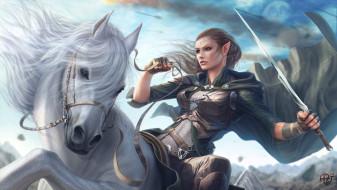 фэнтези, эльфы, девушка, конь, воин, эльфийка