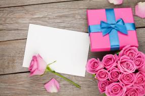 цветы, бант, коробка, подарок
