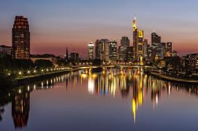 Германия, мост, огни, ночь, Франкфурт-на-Майне, дома