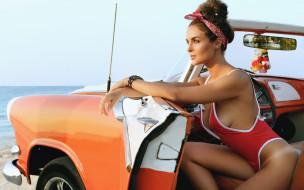 автомобиль, девушка, взгляд, фон