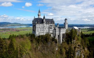 neuschwanstein fairytale castle, города, замок нойшванштайн , германия, замок, панорама