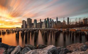 город, выдержка, небо, США, Нью Йорк