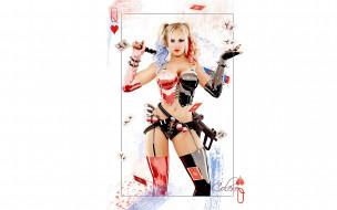 девушка, блондинка, Харли Квин, оружие, перчатки