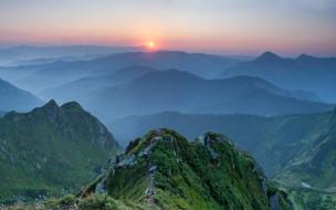 горы, Украина, туман, пейзаж, природа, лес, закат